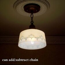 188b Antique 1910 20's CEILING LIGHT lamp fixture glass shade hall kitchen