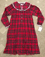 Lanz of Salzburg Womens Flannel Nightgown Red Plaid Size Small S 100% Cotton