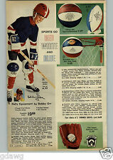 1972 PAPER AD Hockey Equipment Bobby Orr Skates Helmet Gloves Jersey Shin Guards