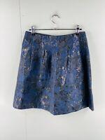 Esprit Women's Metallic Floral Lined Zip Close Skirt Size 8 Blue Black