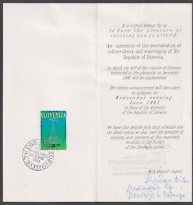 Slovenia, 1991, Invitation to Ceremony of the Proclamation of Independence