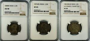 India British Lot of Three Half Rupees 1876 B, 1888 B, 1862 B&M - NGC Graded