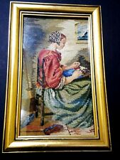Vintage Petit Point Needlepointl Picture Made in Hungary Women Sewing