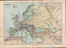1895 VICTORIAN MAP ~ EUROPE POLITICAL UNITED KINGDOM SPAIN FRANCE SWEDEN GERMANY