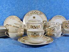 Antique CHIKARAMACHI China Tea Set for 7, Gold Hand Painted, 1930s Pre War Japan