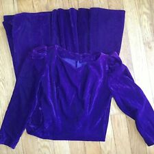 Vintage 80s Purple Velvet Long Sleeve Dress Long Modest Prom Special Occasion