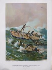 "Militär Lithographie, Untergang Kanonenboot ""Iltis"" vor China am 24.Juli 1896"