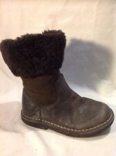Girls Brown Leather Boots Size 29