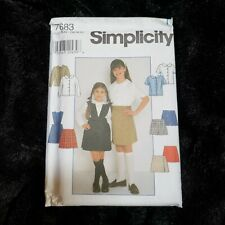 Simpliclty 7683 Girls Blouse Skirt Shorts School Uniform Size 7 8 10 12 Uncut