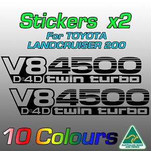 2x V8 D4D 4500 Twin Turbo stickers for Toyota LandCruiser 200  *Premium Quality*