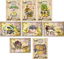 Vintage Easter greetings antique pictures  note cards tags scrapbooking set 8