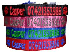 Personalised ID Dog Collar XXS XS S M L XL 4 colours Name and Number UK Stock