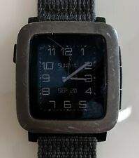 Pebble Time Smartwatch for Apple / Android Devices - Black with Nylon Watchband