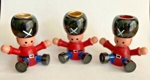 (3) Vintage RUSSIAN SOLDIER Mini Candle Holders Christmas Wooden