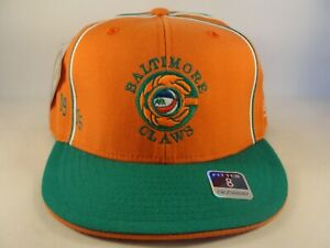 Baltimore Claws ABA Reebok Fitted Hat Cap Size 8 Orange Green
