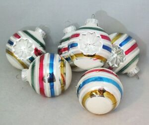 "Reflector Glass Ornament Set 6 Ball Multi Color Stripe 2.5"" Vintage Inspired"