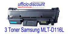 3 Toner Samsung Laser Compatibili MLT-D116L Nero New Chip 3000 copie