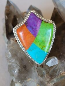 Jay King DRT Sterling Silver Turquoise Multi-Stone Ring Size 8