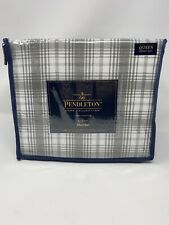 PENDLETON QUEEN SHEET SET 100% COTTON DAVIS PLAID FLANNEL GREY NEW $130.00
