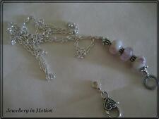 Long Pink Ribbon  Shiny Silver Chain Beaded Necklace / Lanyard Clasp Attachment