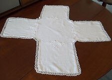 Large Cross Shape Antique White Squares Table Runner Doily Tatting Embroidery