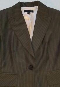 Banana Republic Suit Jacket Blazer Office Pink Pinstripe one button 99% Wool
