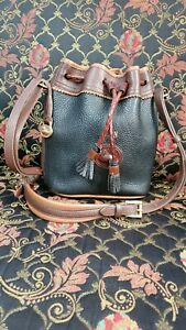 Dooney & Bourke Vintage Pebbled Leather Drawstring Small Bucket Bag