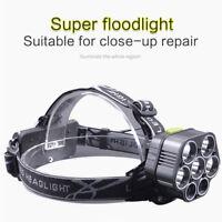 Superbright LED Headlamp 5*T6+2*XPE Head Light Flashlight Torch Lamp Chargable L