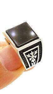 TURKISH JEWELRY Ottoman Handmade High Quality Men's Rings Onyx D1404
