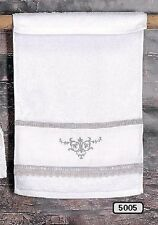 "Hoff Interieur 5005 Guests Towel "" Romance "" 19 11/16x11 13/16in White/Grey, Bw"