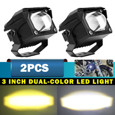 2X 3inch Square LED Work Light Bar Spot Pods Driving Fog Amber Offroad ATV SUV