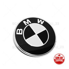 Front Hood 82mm Black White BMW Logo Roundel Emblem Replacement Sport M Power