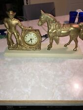 New ListingVintage Gold Cowboy And Horse Mantle Clock