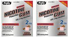 Rugby Nicotine Gum 2mg Coated CINNAMON GREAT TASTE!  100 pc ( 2 pack ) PRIORITY!