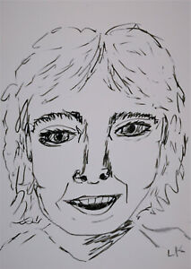 """ACEO original line drawing DAVID CASSIDY famous people by Lynne Kohler 2.5x3.5"""""""