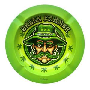 Metal Rolling Ashtray Mr.Green Farmer Amsterdam Smoking Ash Catcher Round Tray