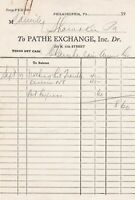 Pathe Exchange Inc. Philadelphia Nothing But Trouble Film Booking Receipt 39790
