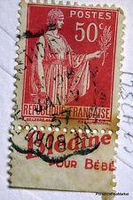 FRANCE TIMBRE OBLITERE BANDE PUBLICITAIRE PUB SUR PAIX 50c Yt 283 125CA73