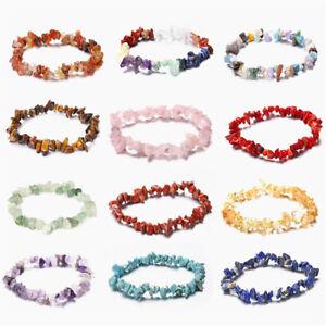 1/5X Charm Reiki Healing Bracelets Gemstone Crystal Chip Beaded Bracelet Stretch
