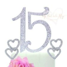 """Quinceanera """"15"""" Elegant Silver Crystal Rhinestone Cake Topper with 2 Hearts"""