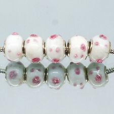 Wholesale 5Pcs MURANO Lampwork Charm Beads Fit European Bracelets Necklace H12