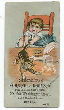 1890s Trade Card for the Cosmopolitan Dining Room Boston w/ Bill of Fare