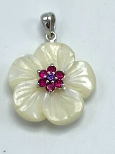 Sterling Silver 925 Carved Mother of Pearl and Red Ruby Flower Pendant