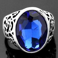 Elegant Blue Sapphire Tibetan Silver Men's Women's Cocktail Ring Size 7/8.5/9.5