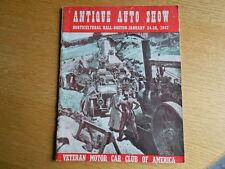 1947 ANTIQUE AUTO SHOW PROGRAM VETERAN MOTOR CAR CLUB of AMERICA ORIGINAL