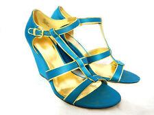 Coach Trixy Women's Aqua Blue Satin Gold Wedge Sandals Size 8.5 B