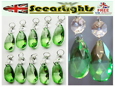 10 CHANDELIER CUT GLASS CRYSTALS DROPLETS ANTIQUE GREEN OVAL LIGHT SPARE DROPS