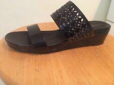 Vanei Black Patent Leather Slide Wedge Sandals 9N EUC