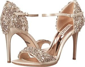Badgley Mischka Tampa Jeweled Satin Dress Sandals Stiletto Heel Size 11 NEW $325