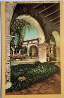 Mission San Juan Capistrano Founded 1776 Linen Vintage Postcard CA